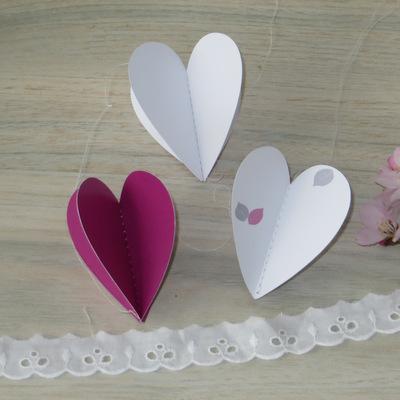 """Herzgirlande """"Blättertraum"""" pink"""