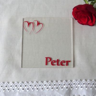 """Acryl Untersetzer & Tischkarte """"Herzschlag"""""""