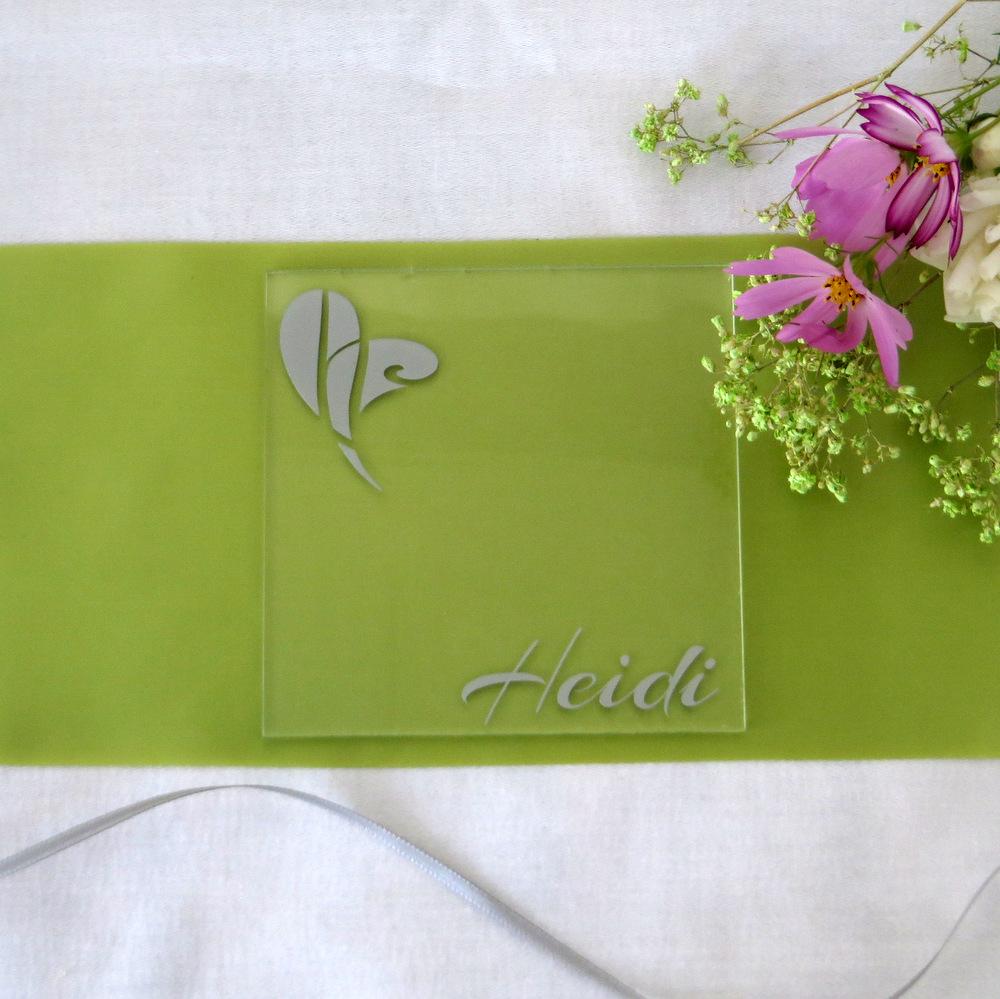 """Acryl Untersetzer & Tischkarte """"Herz"""" silber"""