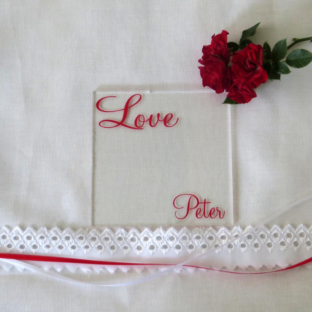 """Acryl Untersetzer & Tischkarte """"Liebe"""" rot"""