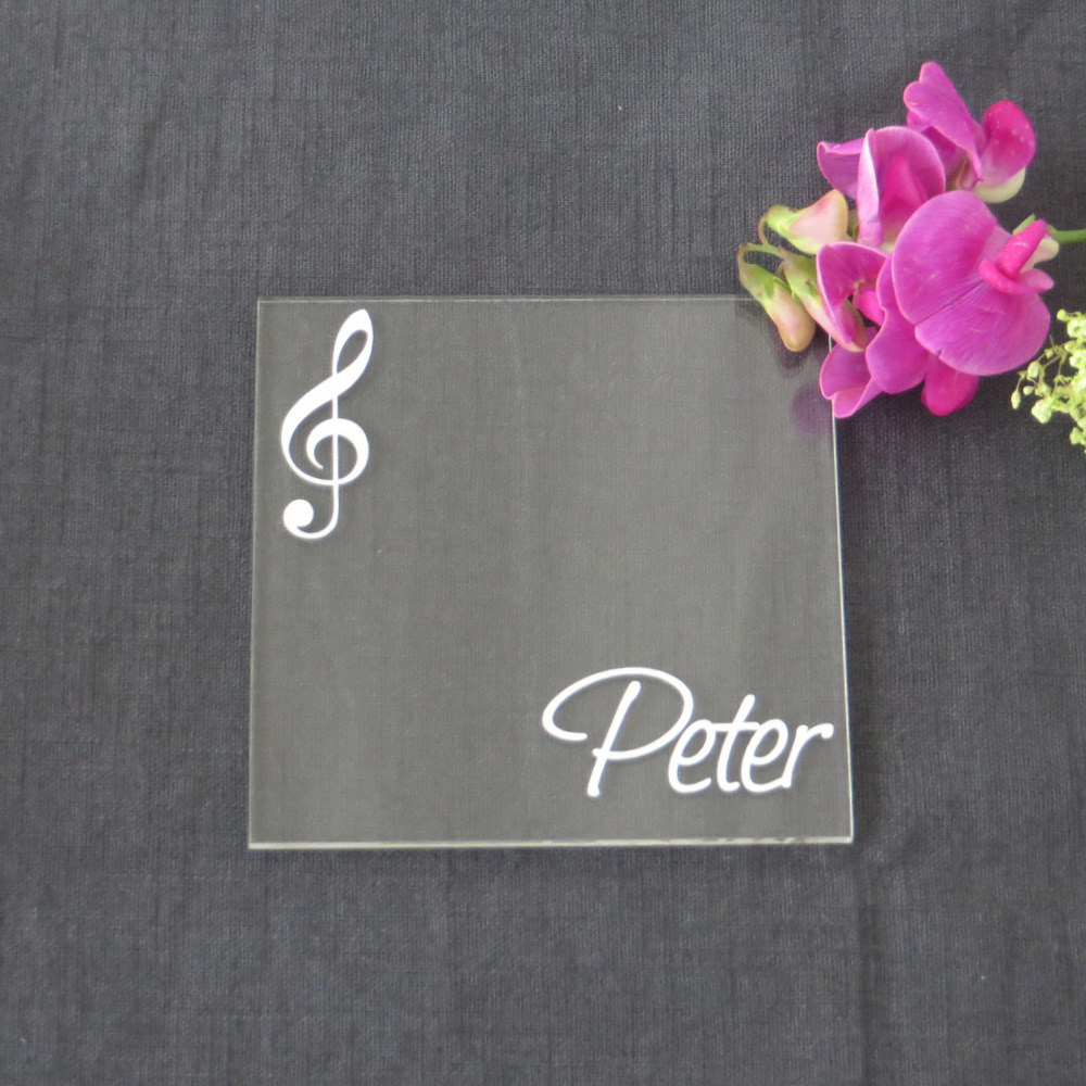 """Acryl Untersetzer & Tischkarte """"Notenschlüssel"""""""