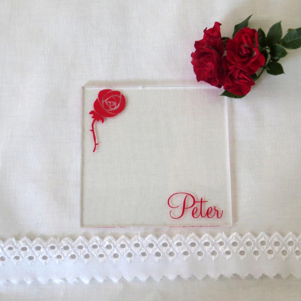 """Acryl Untersetzer & Tischkarte """"Rose"""""""