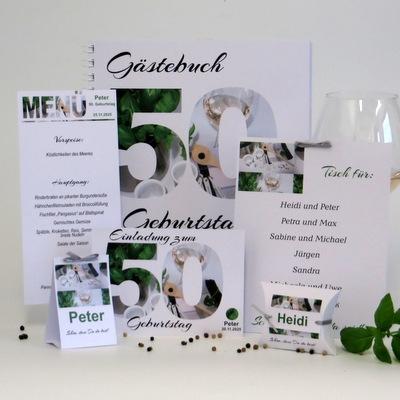 Geburtstagseinladungen, Tischkarten und mehr Papeterie für alle, die gerne kochen.