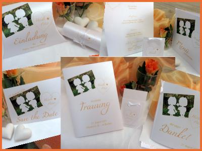 Hochzeitseinladungen mit Foto in apricot