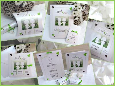 Moderne Hochzeitseinladungen und Deko in grün und braun mit Foto