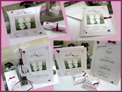 Hochzeitseinladungen und die passende Papeterie mit Fotos und einem Design in rosa und pink.