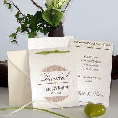 Dankeskarte mal anders. Sagen Sie nach Ihrer Hochzeit mit dieser ausgefallenen Karte stilvoll Danke.