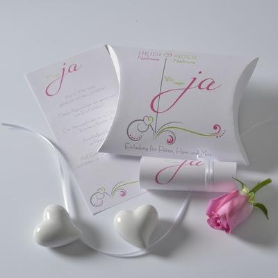Hochzeitseinladung in pink und grün. Modern und ausgefallen.