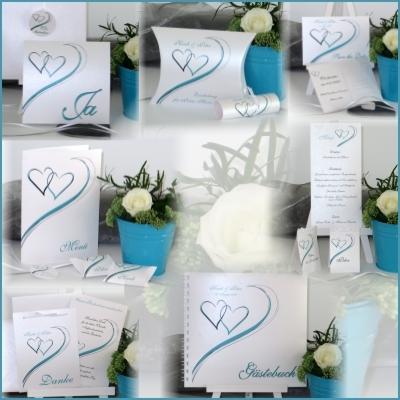 Hochzeitspapeterie in türkis mit traumhaften Herzen
