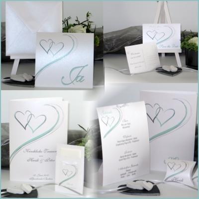 Moderne Hochzeitskarten, die mit mint im Trend liegen.