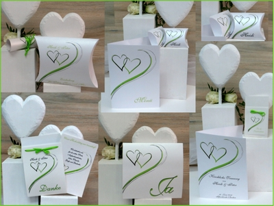 Hochzeitskarten mit dem gewissen Etwas in grün und weiß