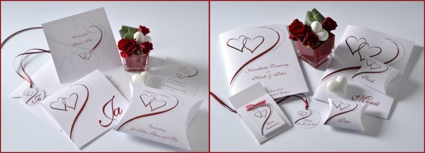 Edle und ausgefallene Hochzeitspapeterie mit zwei verschlungenen Herzen in rot.