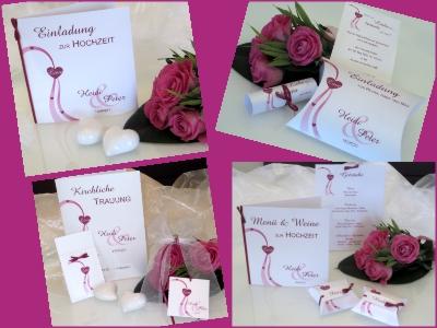 Pink-weiße Hochzeitskarten mit einem romantischen Design.