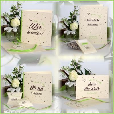 Trendige Hochzeitskarten mit einem modernen Punktedesign.