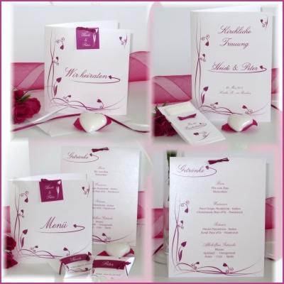 Elegante Hochzeitspapeterie mit einem traumhaften Design in pink.