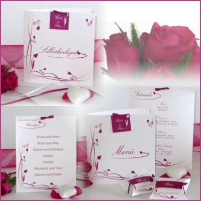 Kartenset zur Silberhochzeit mit Details in frischem Pink.
