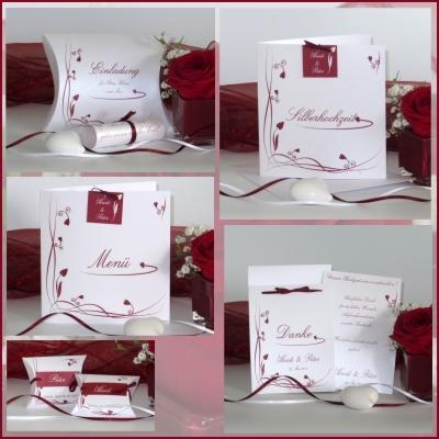 Elegante Papeterie für Eure Silberhochzeit: Loop in rot