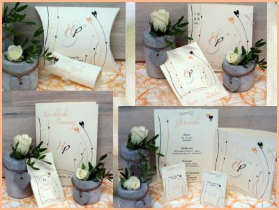 Stilvolle Einladungskarten und Papeterie für eine Hochzeit im Vintagestil.