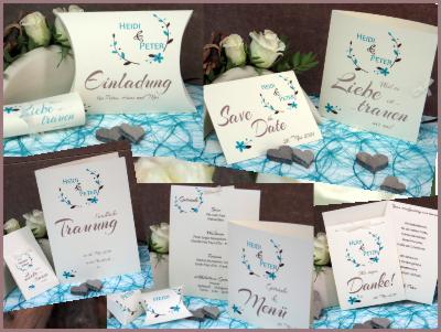 Hochzeitspapeterie mit Blumenkränzen und Details in türkis.