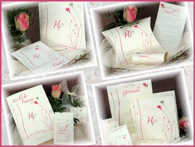 Hochzeitspapeterie mit wunderschönem Vintagedesign in rosa und grün