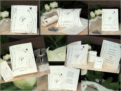 Vintage Hochzeitskarten mit zauberhaften Herzen und Schriften.