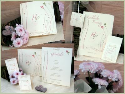 Traufkarten in romantischem Vintagedesign in rosé und grün