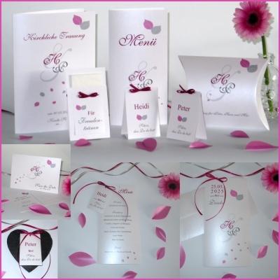 Ausgefallene Hochzeitskarten mit Blättern und Initialen in pink und grau.