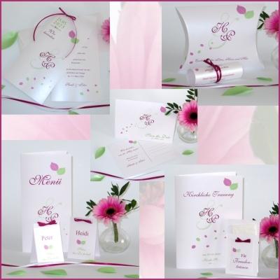 Stilvolle Hochzeitskarten im Set mit wunderschönen Details in pink und grün