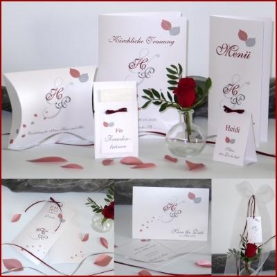 Hochzeitskarten in rot und grau mit edlem Blätterdesign