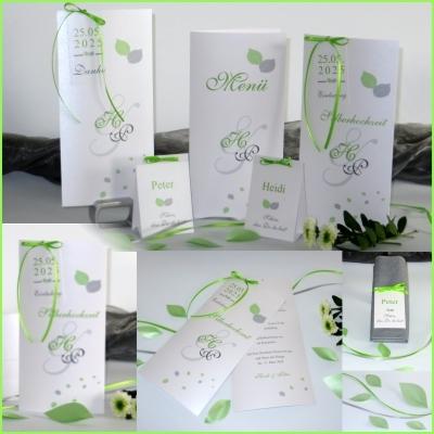 Silberhochzeit: Einladung und die komplette Kollektion Blättertraum in grün.
