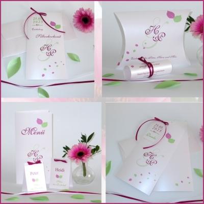 Umwerfende Silberhochzeitspapeterie mit frischem Blätterdesign in pink und grün
