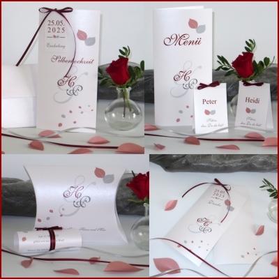 Kartenset zur Silberhochzeit in rot und grau mit edlem Blätterdesign
