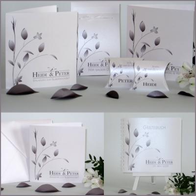 Einladungen und mehr für eine Silberhochzeit mit eleganten und stilvollen Details in der Trendfarbe taupe.