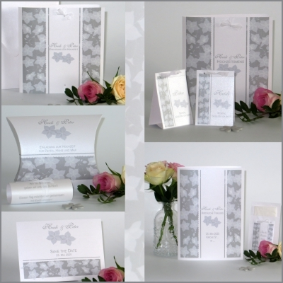Hochzeitskarten im angesagten Retrolook mit Blumen in grau und weiß.