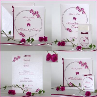 Einladungen und mehr für die Hochzeit mit Taufe mit einem Blumenprint in pink.