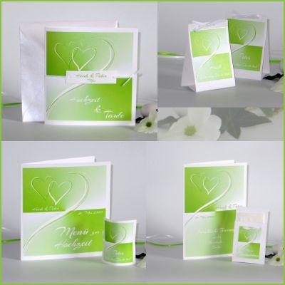 Strahlend schönes Traufkartenset mit Herzen und Farbverläufen in tollem grün
