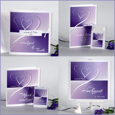 Effektvolle Hochzeitskollektion in angesagtem lila und trendigen Herzen