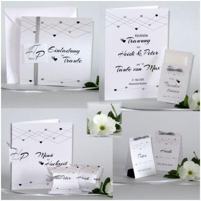 Hochzeitskarten mit Taufe in einem trendy Schwarz-Weiß-Look mit kleinen Herzen.