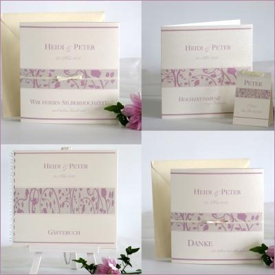 Creme-rosa Papeterie für die Feier der Silberhochzeit mit stilvollen Blüten.
