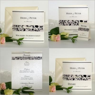 Ansprechende Karten für die Silberhochzeit mit einem edlen Druck in schwarz auf creme.