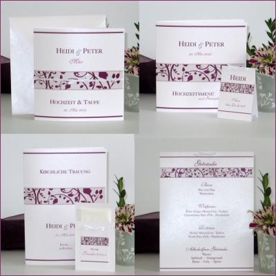 Elegante Traufkarten, die mit dem besonderen Blumenprint in aubergine auffallen.