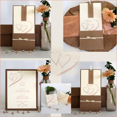 Papeterie zur Silberhochzeit mit romantischen Elementen in apricot und Kraftkarton.