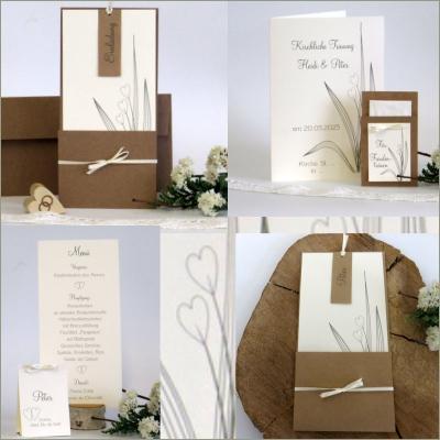 Ein Kartenset für die Hochzeit mit Taufe, das mit seiner natürlichen Gestaltung überzeugt.