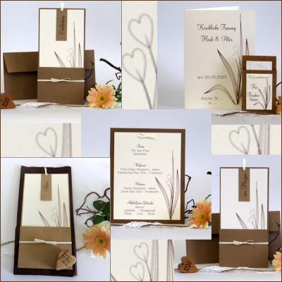Hochzeitskarten mit einem klaren Design in edlem Braun.