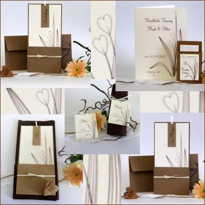 Einladungen und Drucksachen für die Traufe mit Gräsern und Herzen in braun.