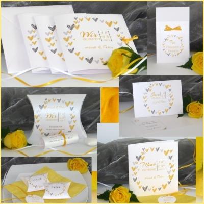 Hochzeitskarten mit Herzen und Details in gelb. Besonders und auffällig.