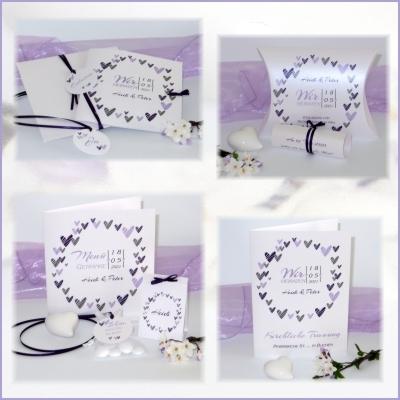 Hochzeitseinladung in flieder: Trendy Hochzeitspapeterie mit vielen Herzen in lila und flieder
