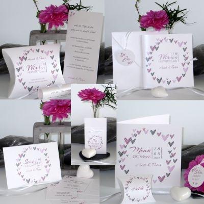 Besonders romantische Hochzeitskarten und Deko mit vielen Herzen in rosa