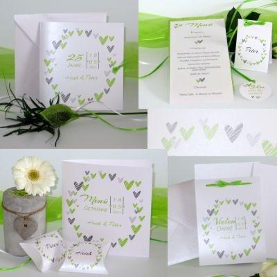 Herziges Kartenset zur Silberhochzeit in sommerlichen grün