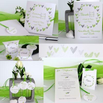 Traufkarten in grün. Einladungen und Deko für die moderne Hochzeit mit Taufe.